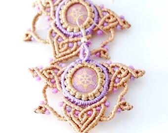 Tribal boho style macrame mandala earrings, Macrame jewelry, Boho earrings, Mandala jewelry, Festival earrings, Birthday Gift Idea for her