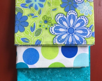Adorable Blue and Green Fabric Quarter Bundle