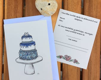 Wedding invitation - blue cake