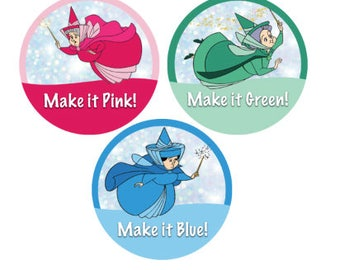 Flora Fauna and Merryweather Button - Sleeping Beauty Button - Fairies Button - Disney Park Button - Theme Park Button - Disney Badge