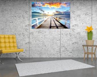 Sunset, sea, wall painting, digital painting