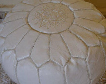 MOROCCAN POUF genuine leather WHITE pouffe footstool stuning