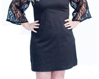 Black Lace Bell Sleeve Shift Dress - AUSize 12, 14-16, 18-20