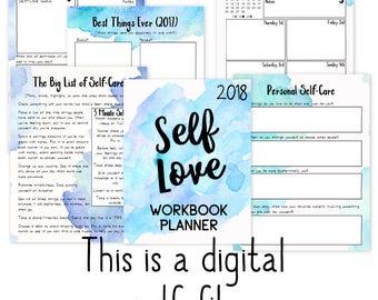 2018 Self-Love Workbook + Planner |  Self-Care Planner | Self-Help | Personal Growth | Bullet Journaling