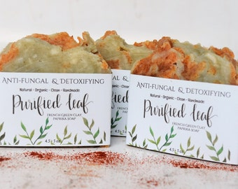 Handmade Organic Soap, Anti-fungal and Detoxifying, Homemade soap, Organic soap, Clean Soap, Soap bars, Natural Soap, French Green Clay soap