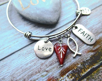 Love and Faith Bangle Bracelet