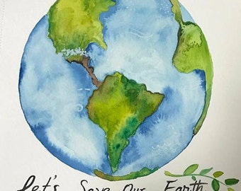 Original watercolor painting The Earth