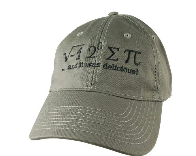 I Ate Some Pie Pi Math Pun Embroidery Adjustable Khaki Green Unstructured Mid-Profile Classic Baseball Cap + Option to Personalize the Back