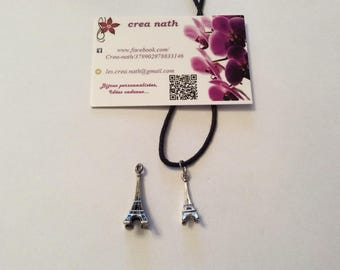 Eiffel Tower black cord necklace