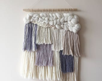 Color block handmade tapestry / Wool, silk and linen weaving /  Merino wool weaving