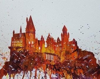 Hogwarts Original Painting Acrilic paints on high quality paper A4 size autumn colours