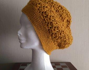 Saffron yellow Alpaca Hat/slouchy