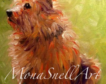 Small original one of a kind painting of a Norwich Terrier