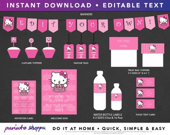 Hello Kitty Birthday Party Printables - Fully Editable - INSTANT DOWNLOAD with EDITABLE text