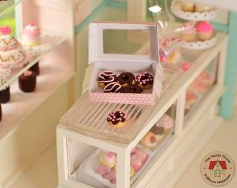 Miniature Box of Chocolate Donuts, Miniature Donuts, Minature Doughnuts, Dollhouse donuts, 1:12 Scale Miniature food, Dollhouse food