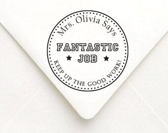 Teacher Fantastic Job Personalized Name Stamp, Teacher Gift Stamp, Gift for Teacher, School Office Stamp
