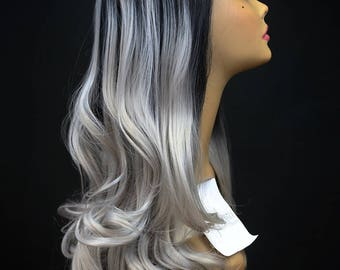 """FELICITY : 26"""" High Quality Lace Front Wig - Heat Safe Synthetic Hair with soft loose spiral curls in Black Roots with Silver Grey Tips"""