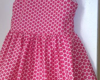 PInk polka dot summer girl's dress