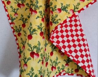RADISHES, Baby Quilt, handmade, toddler quilt, PERSONALIZE, red Radishes, lightweight, yellow quilt, red white checks, reversible