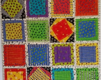 SQUARES, colorful baby quilt, lap quilt, wall hanging, geometric shapes, handmade, Toddler quilt, personalize, reversible, fiber art,