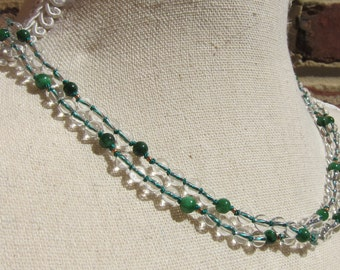 Crystal-Jasper Wrap Necklace - Genuine Crystal Quartz + Dry Green Jasper & Pure Silk Thread