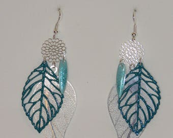 Leaf earrings, large prints, silver leaves, flowers, green turquoise, glitter, dangle earrings, spring jewelry