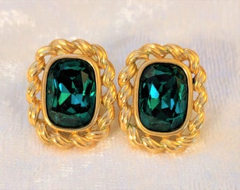 Vintage Swarovski Earrings - Swan Signed Christmas Green Emerald Colored Post Back Earrings