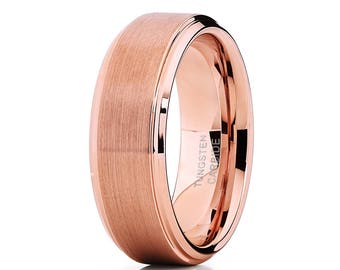 Rose Gold Tungsten Wedding Band Brush Tungsten Carbide Ring Rose Gold Wedding Ring Men & Women Engagement Ring