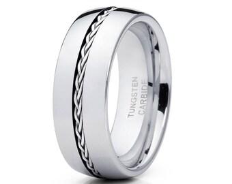 Tungsten Wedding  Band Silver Braid .925 Tungsten Carbide Ring Men & Women Tungsten Wedding Ring Anniversary Ring Dome