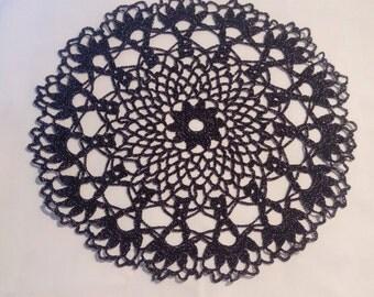 New black crochet doily - black doily