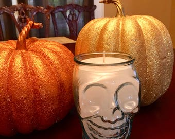 Glass Skull Candle, Halloween, Gothic Decor, 100% Recycled Glass Made in Spain, Spooky Decor