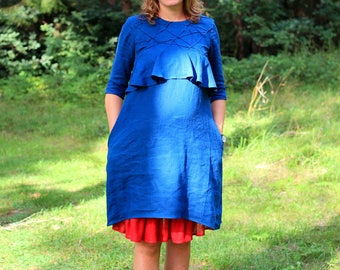 2pc  Maternity Dress + Skirt,  Maternity Clothes, Preganncy Dress, Nursing Dress, Blue maternity dress, Maternity Set, Capsule wardrobe