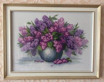 "cross stitch ""LILACS"", the subject of handmade"
