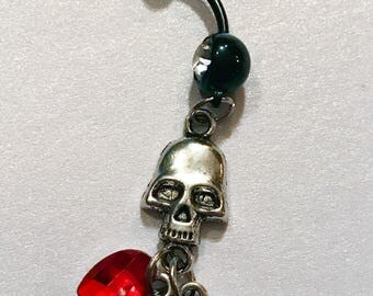 Dangling silver tone skull black red heart charm crystal rhinestone 14g belly button ring navel piercing jewelry