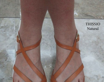 Sandals, leather sandals, Ancient sandals,summer sandals,Brown sandals,leather sandals,Greek sandals, women's sandals,Natural sandal THISSIO