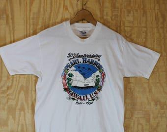 Vintage 1990's 50th Anniversary Pearl Harbor 1991 Hanes Label 50/50 T Shirt Tshirt Tee M / L