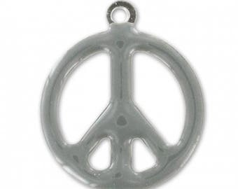 Charm - Sequin Peace grey EPOXY resin - 19 mm-