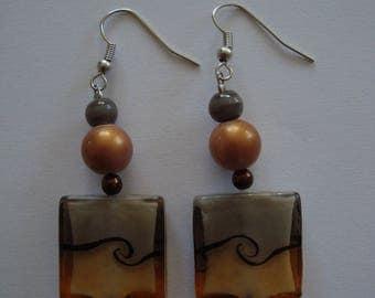 Earrings dangle fancy Brown and gray