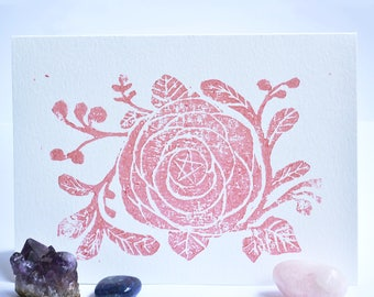 Rose Gold Pentacle Greeting Card