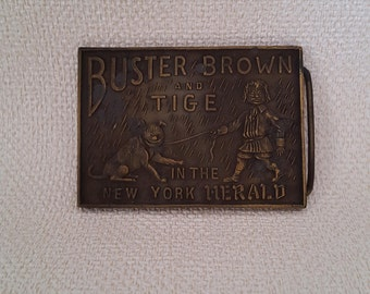 """Vintage Buster Brown and Tige Snap On Belt Buckle - 3 1/8"""" x 2 1/4"""""""