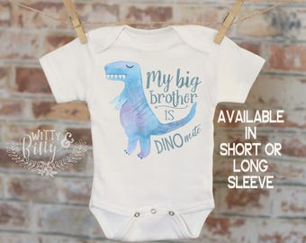 My Big Brother Is Dino-mite Dinosaur Onesie®, Funny Onesie, Cute Onesie, Cute Baby Bodysuit, Boho Baby Onesie - 286M