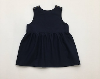 Baby Toddler Girl Navy Blue, Burgundy Red, Mustard Yellow, Green, Purple, and Floral Dress