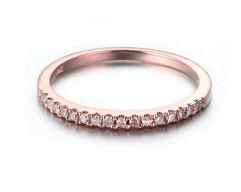 rose gold White Gold Diamond Eternity Ring 10k . Micro Pave Eternity Ring . Wedding Band . Thin Diamond Ring. Diamond Stacking. 0.12ctw