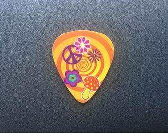 Needle Minder or Magnet: 60s Symbols Guitar Pick