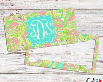 Monogrammed Lilly Inspired License Plate/Frame - Chin Chin