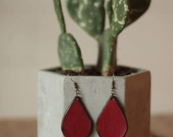 Sierra Red Earrings | Leather Earrings | Birthday Gift | Anniversary | Gifts under 25 | Handmade | Gifts for Her