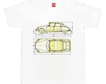 Citroen DS yellow tshirt vintage classic car deesse 19 21 france