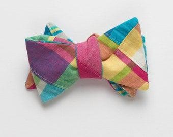 Patchwork Madras Bow Tie- Mystic