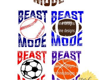 Sports Bundle svg, Beast Mode svg file - 5 DESIGNS, football svg, baseball svg, soccer svg, basketball svg, sports svg, boys tshirt designs