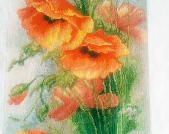 The poppies Finished Completed Cross Stitch